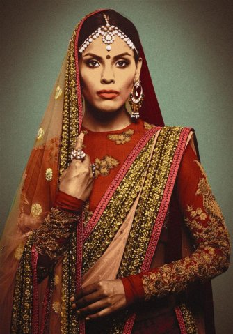 Full-sleeve-Sabyasachi-blouse-with-short-round-neck-717x1024