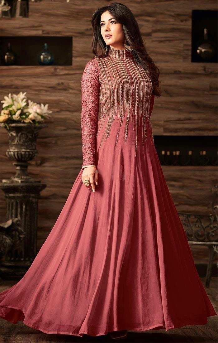image-of-Elegant-Chestnut-Peach-Anarkali-Gown-with-Sequins-for-Engagement-MSHMAS4806C