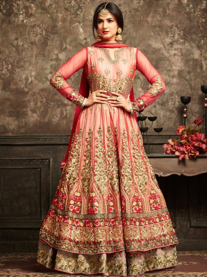 maisha-red-brown-semi-stitched-embroidered-suit