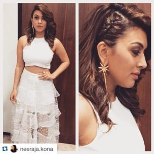 Hansika-Motwani-Side-swept-hairstyle-with-cornrows-1